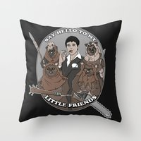 scarface Throw Pillows featuring Scarface and his little Friends by Micahbrown3D.com
