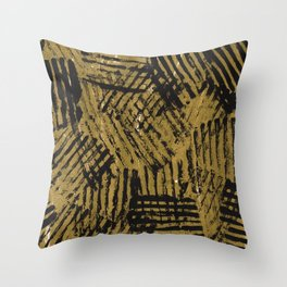 Black golden abstract painting Throw Pillow