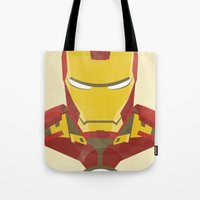 iron man Tote Bags featuring IRON MAN by LindseyCowley
