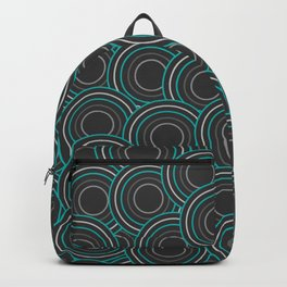 dark gray discs with cyan Backpack