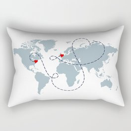 Long Distance World Map - UK to New York Rectangular Pillow