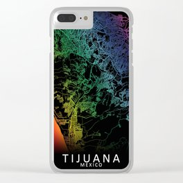 Tijuana, Mexico, City, Map, Rainbow, Map, Art, Print Clear iPhone Case