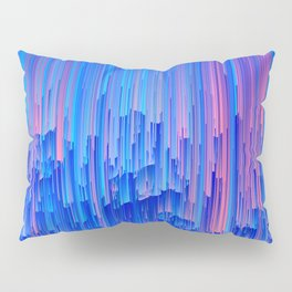 Glitchy Rain - Abstract Pixel Art Pillow Sham
