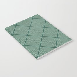 Stitched Diamond Geo Grid in Green Notebook