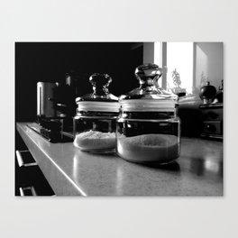 Still life of sugar bowl and salt cellar on kitchen table, close up Canvas Print