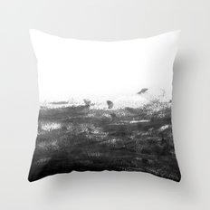 Durand - black and white minimal painting india ink brushstrokes abstract art canvas for home decor Throw Pillow