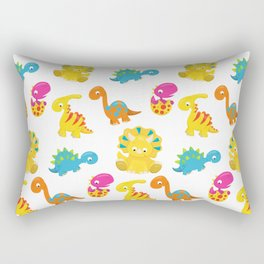 Dinosaur Pattern, Baby Dinos, Colorful Dinosaurs Rectangular Pillow