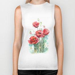 Watercolor red poppies flowers Biker Tank