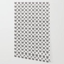 Swirly Cat Portrait (b/w) Wallpaper