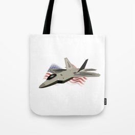 F22 Raptor with the American National Flag Tote Bag