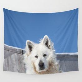 White Husky Wall Tapestry