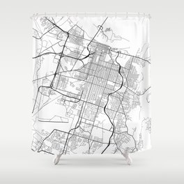 Savannah Map, USA - Black and White Shower Curtain