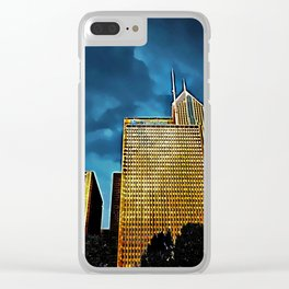 Glittering Chicago Skyline Clear iPhone Case