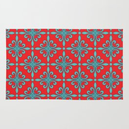 Fleur de Lis - Red & Turquoise Rug