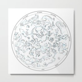 Constellations of the Northern sky - ligth blue Metal Print