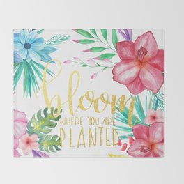 Bloom Where You Are Planted Gold Foil Throw Blanket