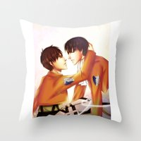 levi Throw Pillows featuring Levi x Eren by TEAM JUSTICE ink.