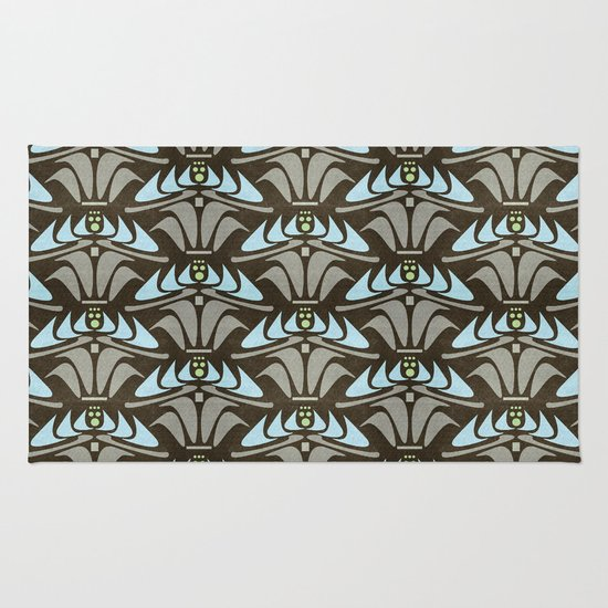 Blue - Arts and Crafts Inspired Stylized Floral Pattern - Susan Weller Rug