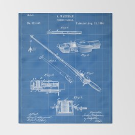Fishing Rod Patent - Fishing Art - Blueprint Throw Blanket