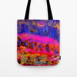 Spaceships, triangles and landscape Tote Bag
