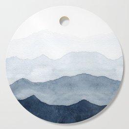 Indigo Abstract Watercolor Mountains Cutting Board