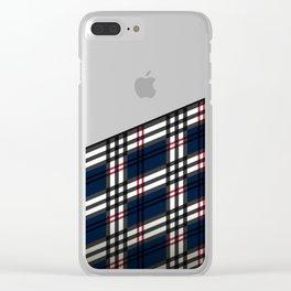 Wooden Scottish Tartan Clear iPhone Case