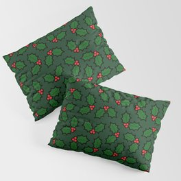 Holly Leaves and Berries Pattern in Dark Green Pillow Sham