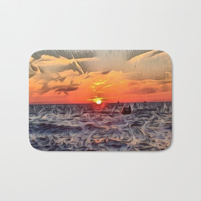 Lake Michigan Romantic Sunset Bath Mat