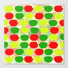 Summer Apple Picking Green, Red and Yellow Canvas Print