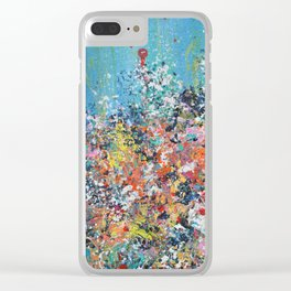 Blue Confetti 2, Abstract Floral Clear iPhone Case