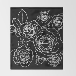 Feminine and Romantic Rose Pattern Line Work Illustration on Black Throw Blanket