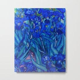 Van Gogh Irises in Indigo Metal Print