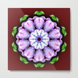 Purple White Flower on Burgundy Metal Print