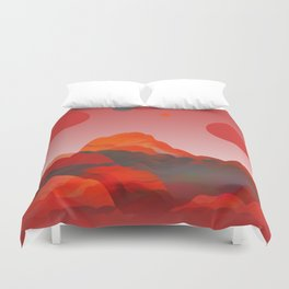 """""""Coral Pink Sci-Fi Mountains"""" Duvet Cover"""