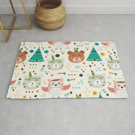 Boho Forest , Woodland Critters Rug