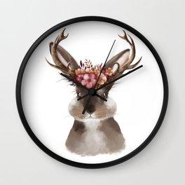 Floral Jackalope Wall Clock