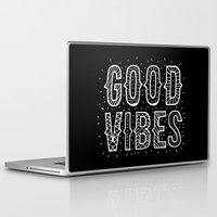 good vibes Laptop & iPad Skins featuring Good Vibes by Word Quirk