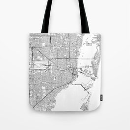 Miami White Map Tote Bag