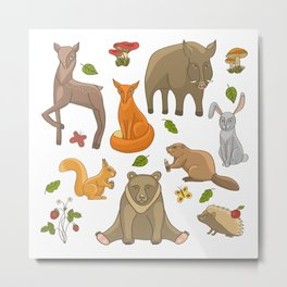 Funny forest animals set Metal Print