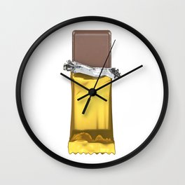 Chocolate candy bar in gold wrapper Wall Clock