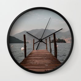 Sunset over the Pier at Lake of Iseo | Italy Travel Photography Wall Clock