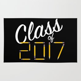 Class of Pencils 2017 White Font Rug