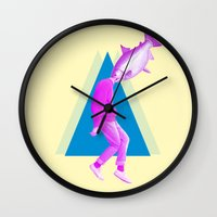thrones Wall Clocks featuring A perfect day for bananafish by Laura Nadeszhda
