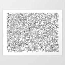 Graffiti Black and White Pattern Doodle Hand Designed Scan Kunstdrucke