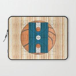 Blue Basketball Court with Basketballs Laptop Sleeve