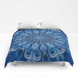 electric blue swirl mandala Comforters