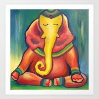 ganesha Art Prints featuring Ganesha by Amanda Rose Whittaker