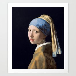 Girl with a Pearl Earring, classic painting Art Print