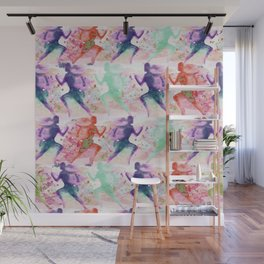 Watercolor women runner pattern with red mint and dark purple Wall Mural