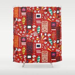 tiki red Shower Curtain